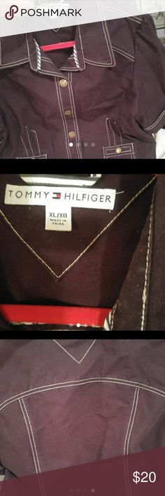 Worn once Tommmy Hifiger ble cotton short jacket Great with jeans ,a skirt or a shorts.Snap front really cute contrast stitching. Tommy Hilfiger Jackets & Coats Jean Jackets