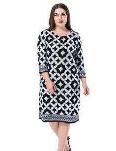 b1e43ec3f1c8 Chicwe Women s Plus Size Cashmere Touch Printed Shift Dress - Knee Length  Work and Casual Dress