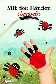 Marienkäfer mit den Händen stempeln: Das können schon die ganz Kleinen.