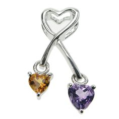Ladies sterling silver combination stone pendant.