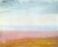 Colour Beginning, watercolor, by Joseph Mallord William Turner, If there was ever any doubt that Turner was a century ahead of his time, this simple color study of a beach scene shows just how different he was to any other artist in the early century. Joseph Mallord William Turner, Watercolor Landscape Paintings, Watercolor And Ink, Turner Watercolors, Turner Painting, Tate Gallery, Classic Paintings, First Art, Illustrations