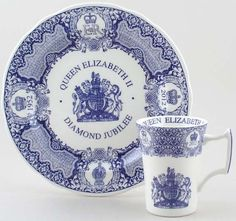 The Queen's Diamond Jubilee    The events and celebrations to mark The Queen's 60 Years as Monarch have already begun and culminate in the Jubilee Weekend at the beginning of June. As personal mementoes of this unique event and historic year we offer Jubilee dresser plates and mugs from both Spode and Burleigh, in traditional blue and also in festive plum from Burleigh. The full range is here. Save money when buying plates and mugs as sets.