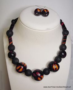 """Fimo Set """"Fantasie"""" aus Fimo Perlen / Jewellery made of Polymer Clay"""
