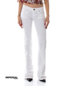 Pantalone in denim a zampa - Imperial - Nella Outlet Store Outlet Store, Sweatpants, Denim, Fashion, Elegant, Moda, Fashion Styles, Fashion Illustrations, Jeans