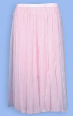 Pink High Waist Mesh Yoke Flare Skirt