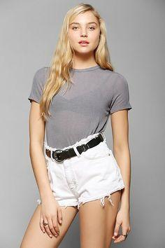 white high waisted shorts