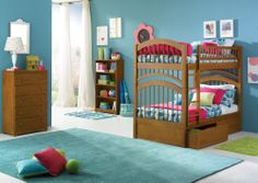 Caramel Latte Windsor Bunk Bed Twin/Twin with 2 Flat Panel Bed Drawers