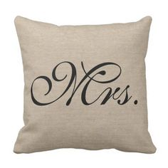 Mrs. fake linen burlap rustic stylish preliminary jute throw pillow. *** See more at the photo