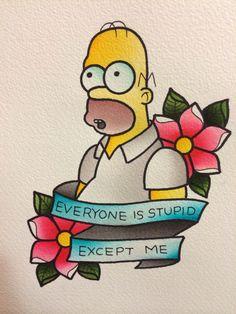 Alex Strangler - Los Angeles, CA. This is great xD Cartoon Tattoos, Funny Tattoos, Love Tattoos, Beautiful Tattoos, Simpsons Tattoo, Simpsons Drawings, Simpsons Art, Kritzelei Tattoo, Tatto Old