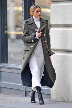 Simple sweater dress and great military styled coat