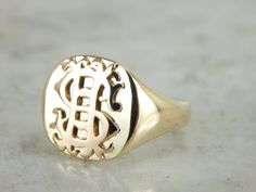 Always want a signet ring. one day I'll have the finger real estate for one and retire my current bad boy rings. Monogram SF Signet Ring Yellow Gold DL30KX-P by MSJewelers on Etsy