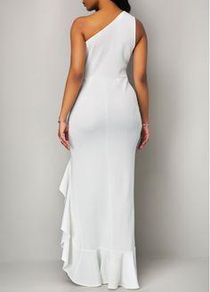 1068d9a5ef Twist Detail Ruffle Hem High Low White Dress