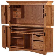 Merveilleux Mission Armoire Desk, Medium Oak