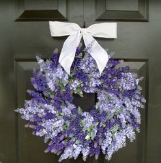 Lavender Wedding Wreath- Summer Wreath- Lavender Wreath with Ribbon- Spring Wreath- 20 inch