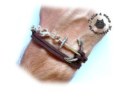 Bracciale uomo ANCORA corda nautico pelle scamosciata braccialetto marinaio ANCHOR SILVER di MosquitoneroShop su Etsy