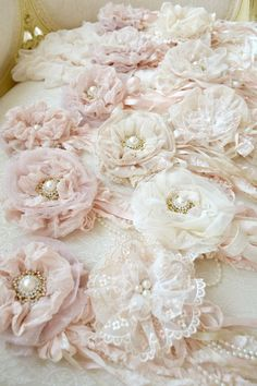Beautiful Shabby Chic fabric flowers