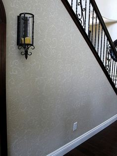 Scroll stencil on Accent Wall. Beautiful wall stencils by Cutting Edge Stencils. by cuttingedgestencils