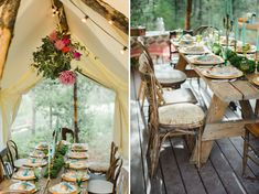 I love this entire intimate wedding ~ from the pretty blue candles to the tent to the gorgeous flower chandelier ~ styled beautifully.