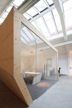 closed meeting space. interesting structure within the space.