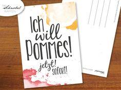 "Postkarte für Pommes Liebhaber / cute typo postcard ""need fries. now"", fun words by Frau Schnobel Grafik via DaWanda.com"