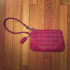 Vintage Coach mini signature wristlet Mini signature C red Coach wristlet. Great for carrying just the essentials. Fits an iPhone. Coach Bags Clutches & Wristlets