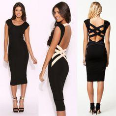 New Fashion Women Sexy Black Bodycon Bandage Dress Celebrity Casual Dress 807-8