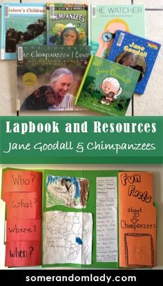 Lapbook and Resources for Jane Goodall, Chimpanzee, and Africa Lesson Plans'  biography, books, build your library, child led learning, chimpanzee, cloze paragraph, elementary, foldables, Homeschool, jane goodall, Kindergarten, lapbook, learning, library, media, online resources, project, reading list, resources, science, scientist, scientists for kids, secular, secular homeschool, video
