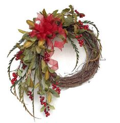 Red+Berry+Christmas+Wreath+for+Door+Holiday+by+AdorabellaWreaths,+$105.00