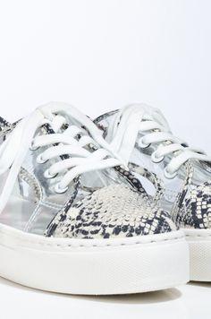 AKIRA Snakeskin PVC Lace Up Flatform Sneaker In Snake Flatform Sneakers, Boy Bye, Your Shoes, Akira, Snug Fit, Snake Skin, Lace Up, Bermuda Shorts, Button