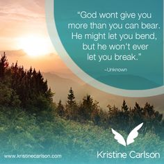 God wont give you more than you can bear... #Inspirational #Quote