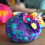 Tutorial: Duct Tape Pumpkin with Button Flowers