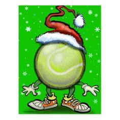 Tennis Elf Postcard - holiday card diy personalize design template cyo cards idea