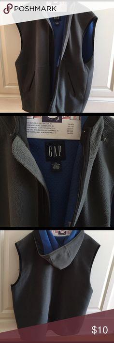 Men's gap vest Men's grey zip up fleece vest, worn but still good. Hood and blue lining GAP Jackets & Coats Vests