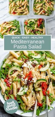 This healthy Mediterranean Pasta Salad is a summertime favorite recipe. It's quick and easy to make, loaded with veges & tossed in a red wine vinaigrette! Easy Cold Pasta Salad, Vegetarian Pasta Salad, Healthy Pasta Salad, Pasta Salad Italian, Healthy Pastas, Pasta Salad Recipes, Nutritious Meals, Healthy Foods, Vegetarian Recipes
