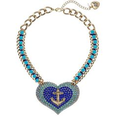 Betsey Johnson Anchor Pave Heart Pendant Necklace (Blue) Necklace ($66) ❤ liked on Polyvore featuring jewelry, necklaces, heart pendant, betsey johnson necklace, anchor chain necklace, heart charm necklace and pave heart necklace