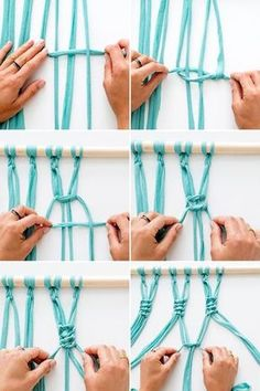Macrame is IN, so now& the time to bust out your knot-tying skills. With al. Macrame Wall Hanging Curtain Using Tee Shirt Strips T Shirt Yarn Macra-make a Gorgeous Macrame Wall Hanging via Brit + Co. with jersey fabric Use 4 strips of fabric to tie each k Art Macramé, Tshirt Garn, Tee Shirt, Macrame Curtain, Macrame Projects, Yarn Projects, Hanging Curtains, Macrame Wall Hanging Diy, Closet Curtains