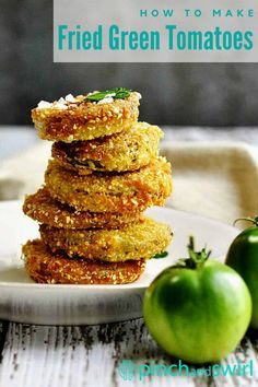 Crispy on the outside and tender in the middle, these Fried Green Tomatoes are addictive! Serve them as an easy appetizer, a party snack or make them the main attraction piled high on a BLT! This recipe for Fried Green Tomatoes is a slight variation of Southern Cooking's version: skipping the sugar, adding a bit of cayenne for kick and finishing with flaky sea salt for extra flavor and crunch of cornmeal.