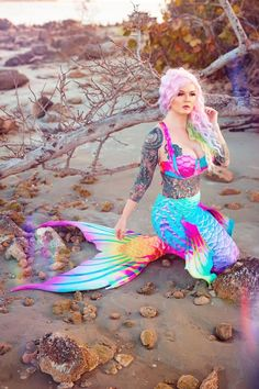 Rainbow Mermaid Tail, Mermaid Tails, Adult Mermaid Costume, Mermaids And Mermen, Mermaid Makeup, Knitted Fabric, Creme, Snug, Knitting