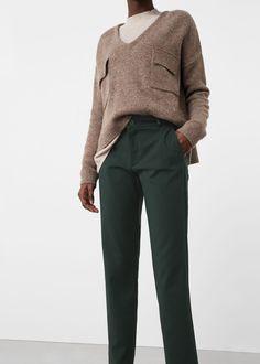 Cotton crop trousers   MANGO