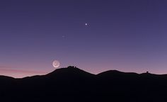 """Crescent Moon and earthshine over Paranal Observatory in Chile. As well as the bright crescent the rest of the disc of the Moon can be faintly seen by sunlight reflecting off the Earth and illuminating the lunar surface. (Taken 2011-10-27. Credit: ESO/B. Tafreshi) Mona Evans, """"Earthshine"""" http://www.bellaonline.com/articles/art301287.asp"""