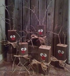 Wood Block Reindeer by REEcreationsHomeDeco on Etsy Wood . - Wood Block Reindeer by REEcreationsHomeDeco on Etsy Wood Block Reindeer by R - Christmas Crafts To Make And Sell, Wooden Christmas Crafts, Christmas Signs, Rustic Christmas, Christmas Projects, Winter Christmas, Holiday Crafts, Christmas Holidays, Etsy Christmas