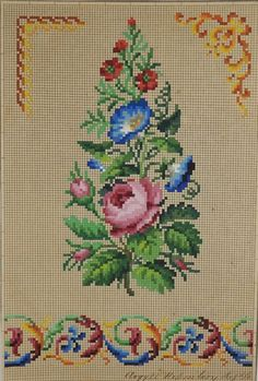 Antique Berlin Woolwork hand-painted chart 19th century - Floral arrangement | eBay