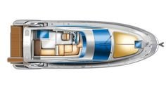 Azimut 40: View of the flying bridge layout of the Azimut 40. Note the rounded bow instead of a sharp point. Her deck plan is symmetrical except for the portlights which have large windows to port and round ones to starboard.