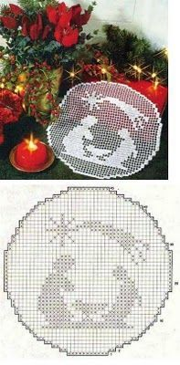 Filet crochet Nativity mat with chart. Possibly mount in frame or over painted canvas. Crochet Christmas Decorations, Crochet Decoration, Holiday Crochet, Filet Crochet Charts, Crochet Motif, Crochet Doilies, Thread Crochet, Crochet Stitches, Doily Patterns