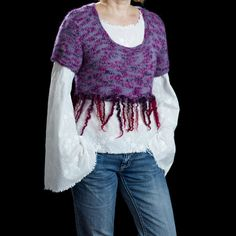 Hand knitted cropped women vest/Tshirt/sweater in plum/purple color, size Medium-Large:   * One of a kind since I dont use patterns (most of the time) :)