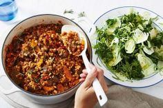 Make the most of winter veggies and serve this tender, slow-cooked beef and barley stew with a fresh kale and Brussels sprout salad. How To Cook Barley, How To Cook Beef, How To Cook Shrimp, Barley Stew Recipe, Beef Barley, Meat Recipes, Slow Cooker Recipes, Cooking Recipes, Slow Cooking