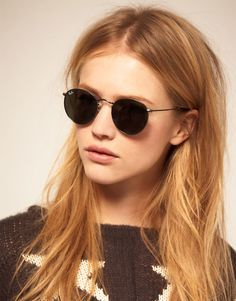 Ray-Ban RB3447 Round Metal Flash Sunglasses -- All Black; found on asos.com -- Doesn't have to be Ray Ban, just sunglasses like this