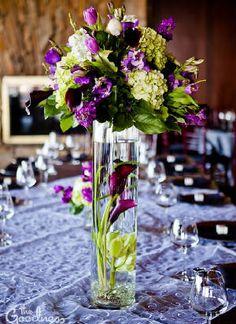 purple pillar centerpiece