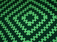 St Patrick's Day Crochet Granny Square Afghan by lulaveggie, $35.00