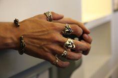 rings in the Rick Owens Paris showroom.